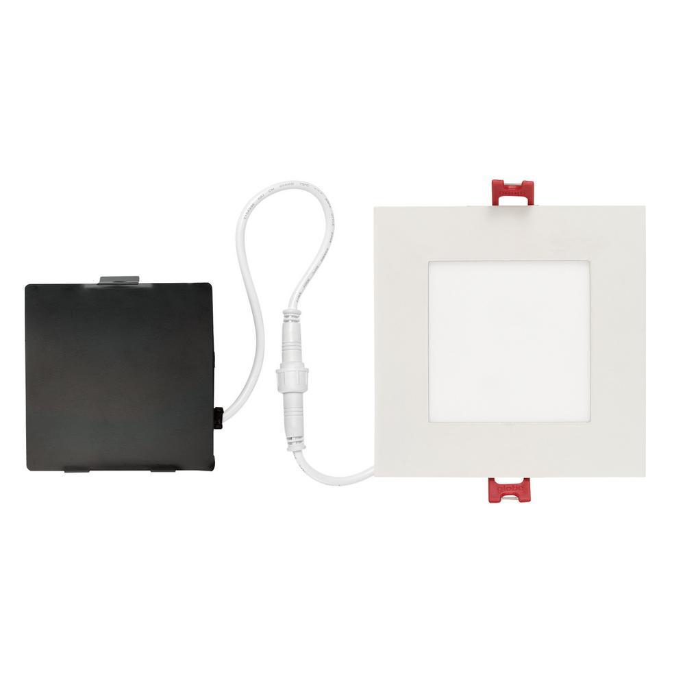 Globe Electric Designer Ultra Slim Square 4 in. White Integrated LED Recessed Kit