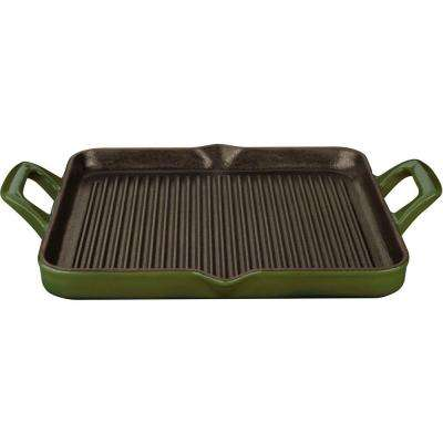 1 Qt. Cast Iron Rectangular Grill Pan with Green Enamel