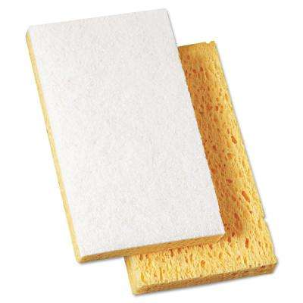 Scrubbing Sponge, 3 3/5 in. x 6 1/10 in., 7/10 in. Thick, Yellow/White, 20/Carton