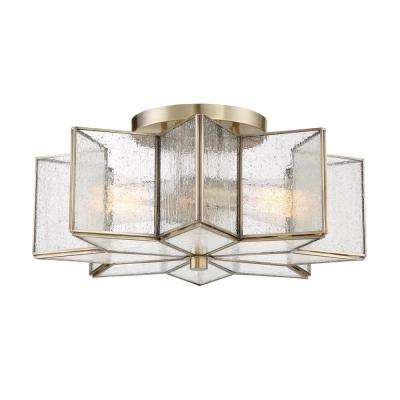 2-Light Natural Brass Semi-Flushmount