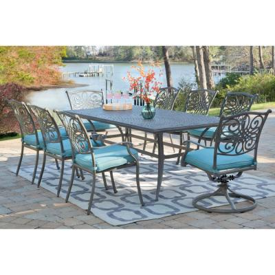 Traditions 9-Piece Aluminum Outdoor Dining Set with Blue Cushions 6-Chairs 2-Swivel Rockers and Dining Table