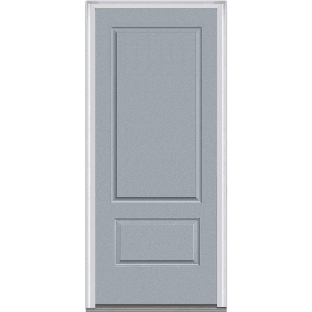 Mmi door 36 in x 80 in right hand inswing 2 panel for Prehung entry door with storm door