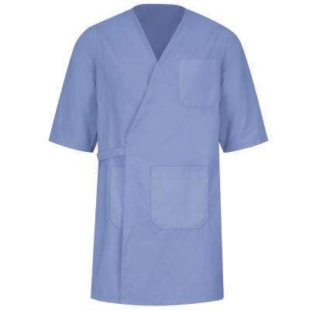 Unisex Size L Light Blue Collarless Butcher Wrap
