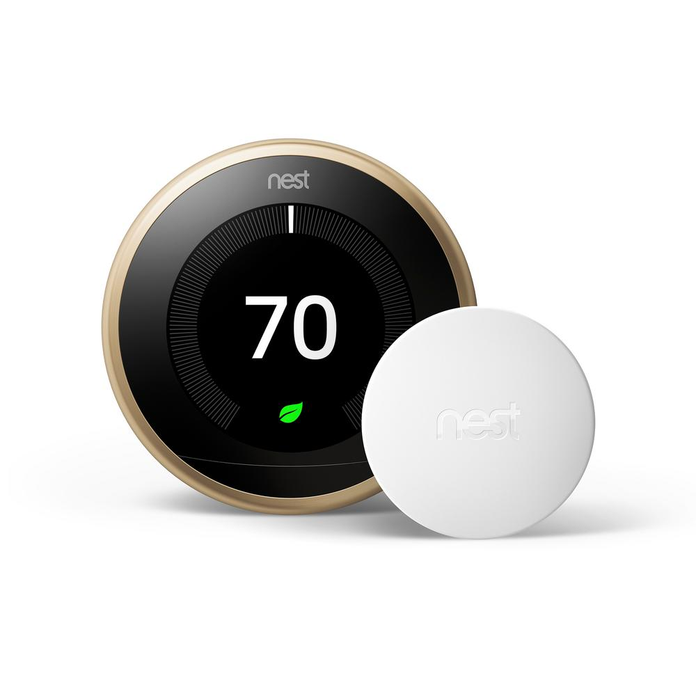 Google Nest Learning Thermostat 3rd Gen in Brass and Google Nest Temperature Sensor