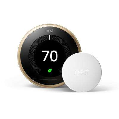 Smart Learning Wi-Fi 24-Day Programmable Thermostat, 3rd Gen, Brass with Temperature Sensor