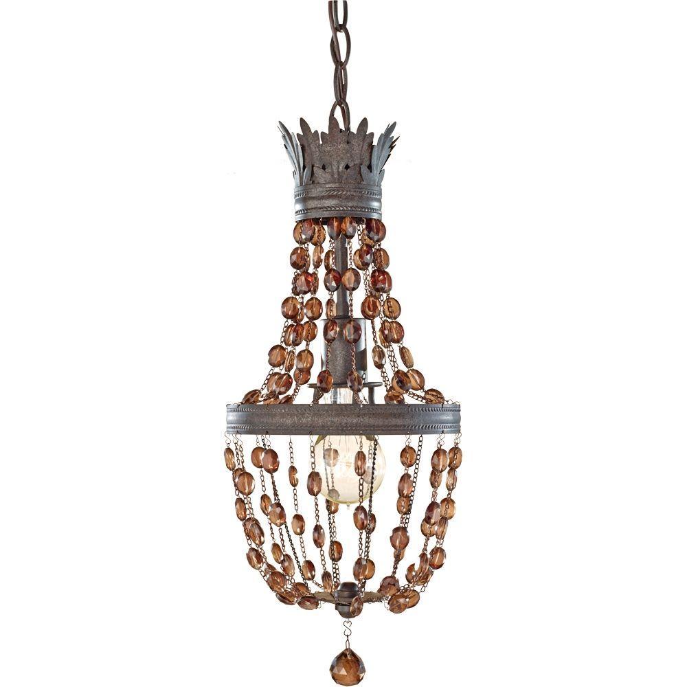 Marcia 1-Light Rustic Iron Mini Pendant