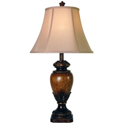 28.5 in. Brown Table Lamp with Taupe Fabric Shade