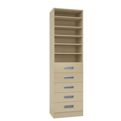 15 in. D x 24 in. W x 84 in. H Firenze Almond Melamine with 6-Shelves and 5-Drawers Closet System Kit
