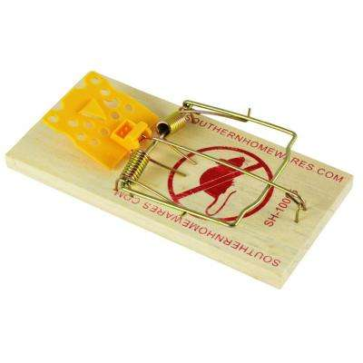 Cheese Shaped Plastic Trigger Wooden Snap Rat Trap (2-Pack)