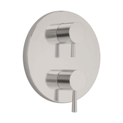 Serin 2-Handle Thermostat Valve Trim Kit in Brushed Nickel with Separate Volume Control (Valve Sold Separately)