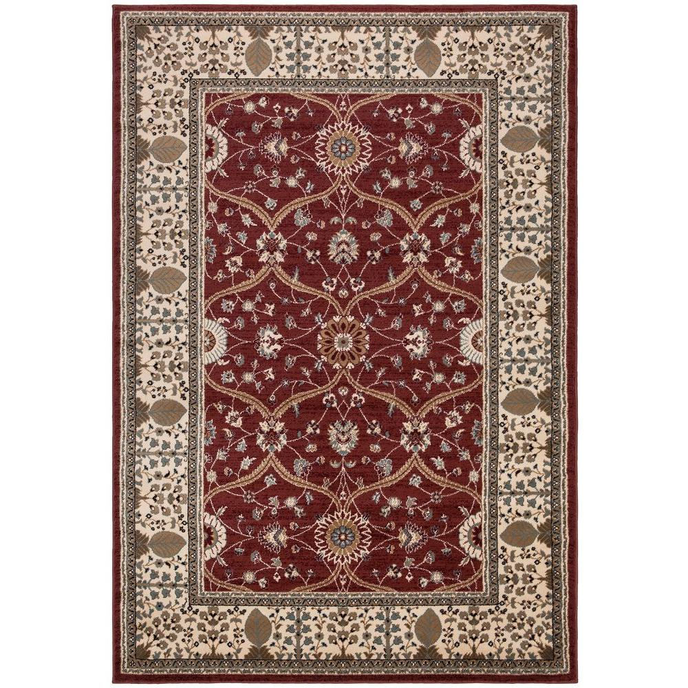 Ottomanson Traditional European Red 5 ft. 3 in. x 7 ft. 7 in. Area Rug