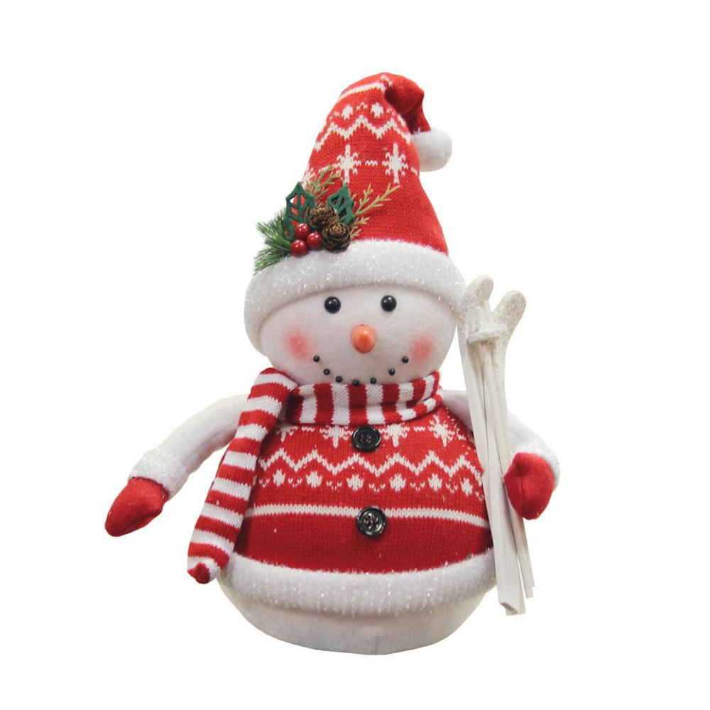 12 in. Alpine Chic Red and White Sparkling Snowman with Skiis