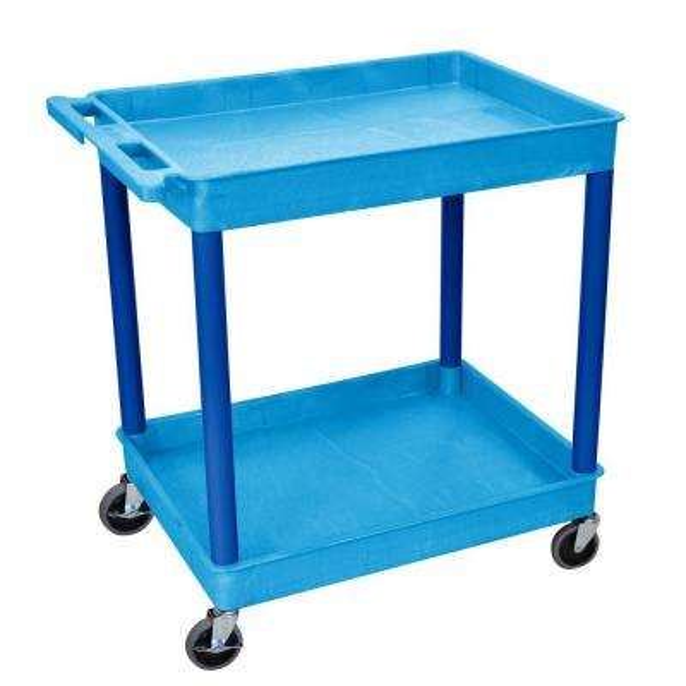 24 in. x 32 in. 2-Tub Shelf Utility Cart, Blue