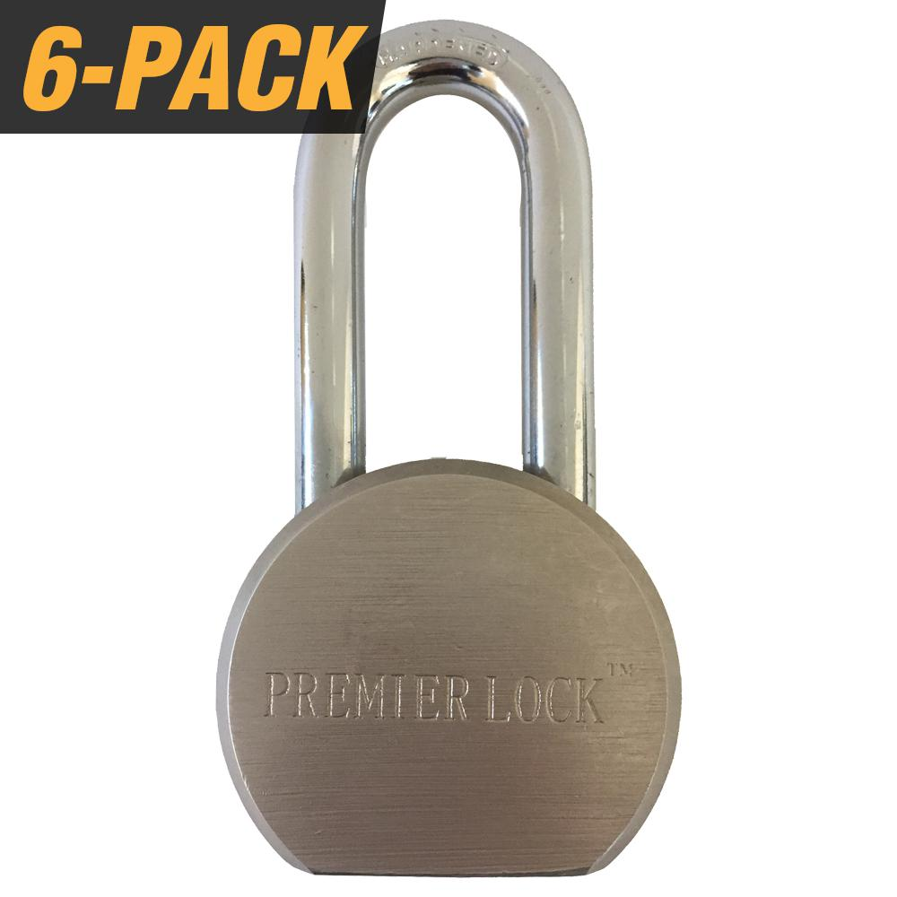 Premier Solid Steel Commercial Gate Keyed Padlock with Long Shackle and