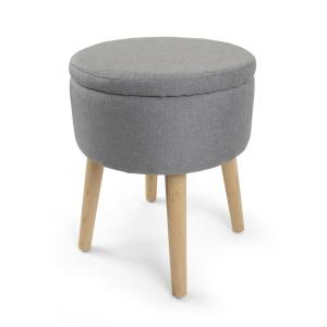 Peachy Humble Crew Gray 14 In Round Storage Ottoman With Tray Gmtry Best Dining Table And Chair Ideas Images Gmtryco
