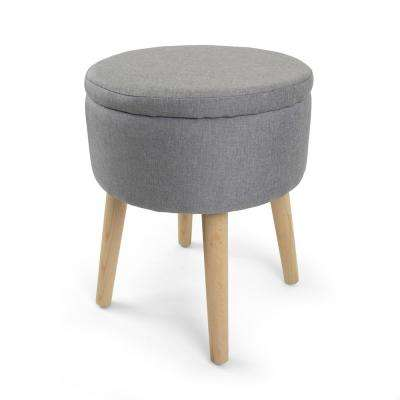 Gray 14 in. Round Storage Ottoman with Tray