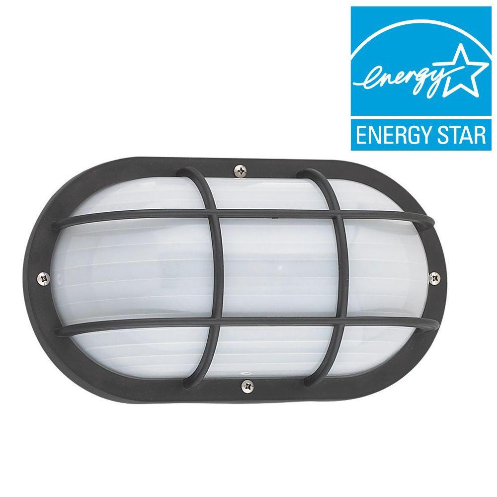 Bayside Black 1-Light Outdoor Bulkhead with LED Bulb