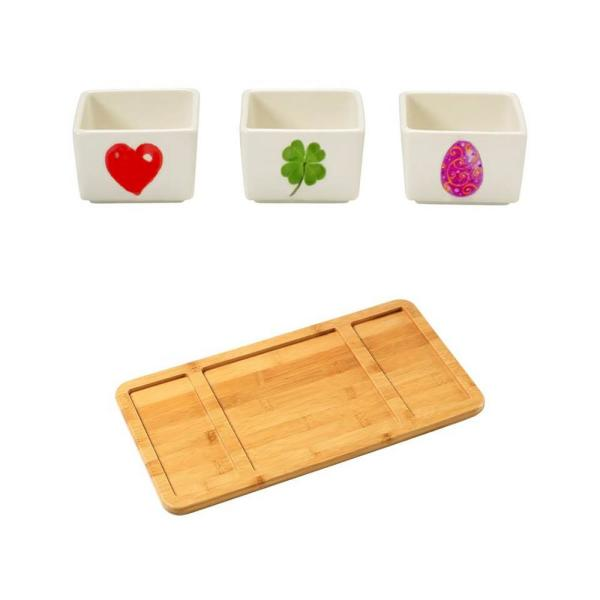 Precious Moments Bamboo Cheese Board and  Porcelain Holiday Appetizer Dip Bowls (Set of 3)