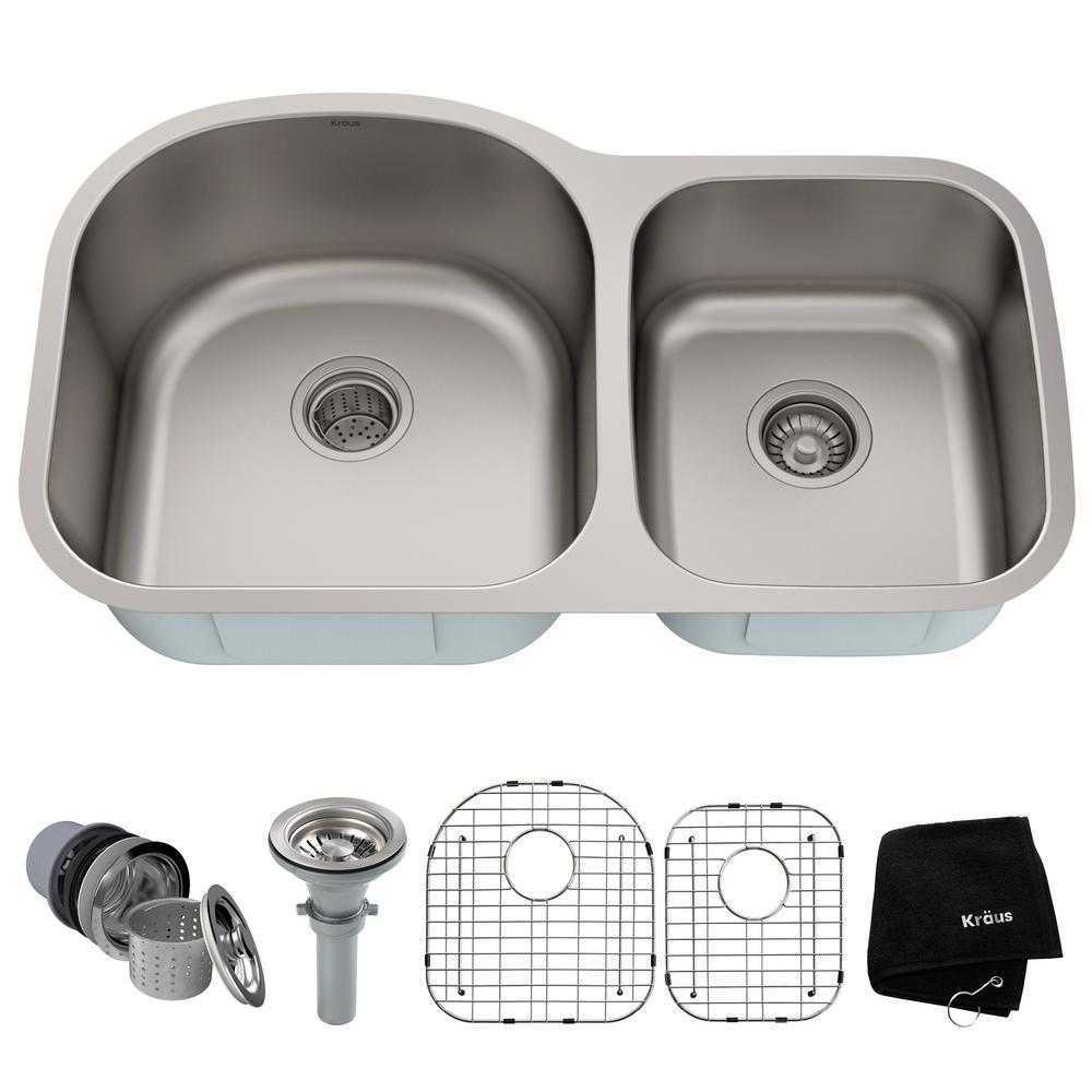 Premier Undermount Stainless Steel 35 in. 60/40 Double Bowl Kitchen Sink