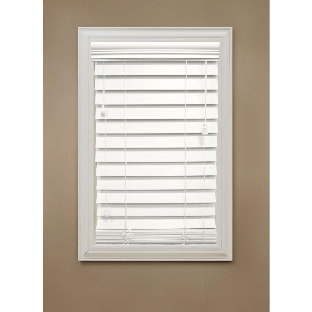 null 46-3/4 in. x 72 in. White Premium Faux Wood Blind, 2-1/2 in. Slats (Actual Size 46.25 in. W 72 in. L )