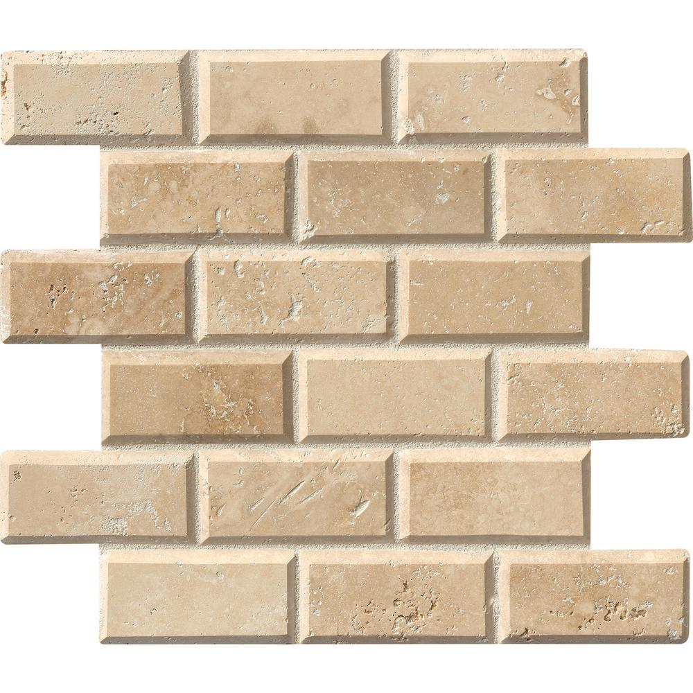 MSI Tuscany Ivory 12 in. x 12 in. x 10mm Honed Beveled Travertine Mesh-Mounted Mosaic Tile (10 sq. ft. / case)