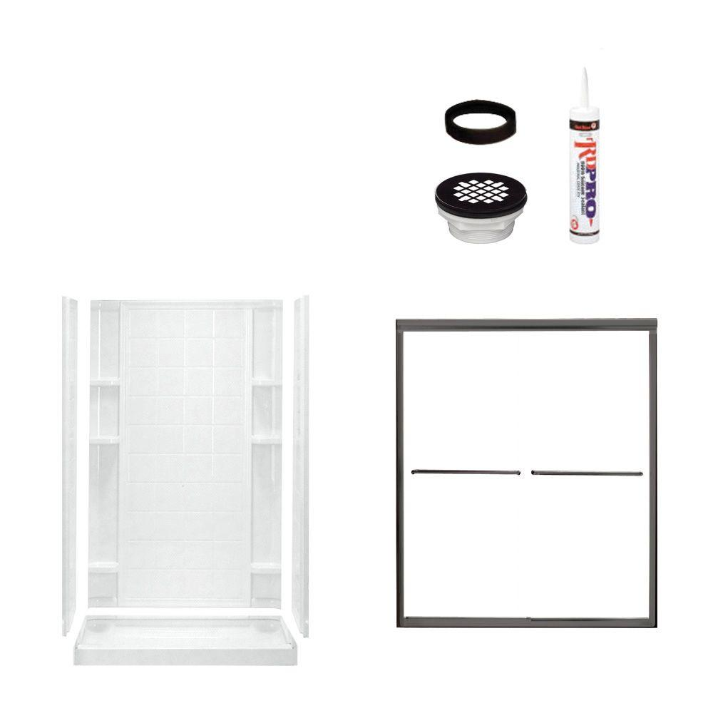 STERLING Ensemble Tile 48 in. x 34 in. x 75-3/4 in. Shower Kit with Shower Door in White/Oil Rubbed Bronze-DISCONTINUED