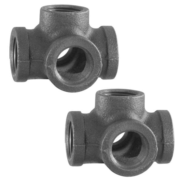 1/2 in. 5-Way Black Iron Cross with Side Outlet Industrial Steel Grey (2-Pack)