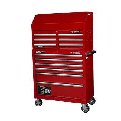 36 in. W 12-Drawer Combination Tool Chest and Rolling Cabinet Set in Gloss Red