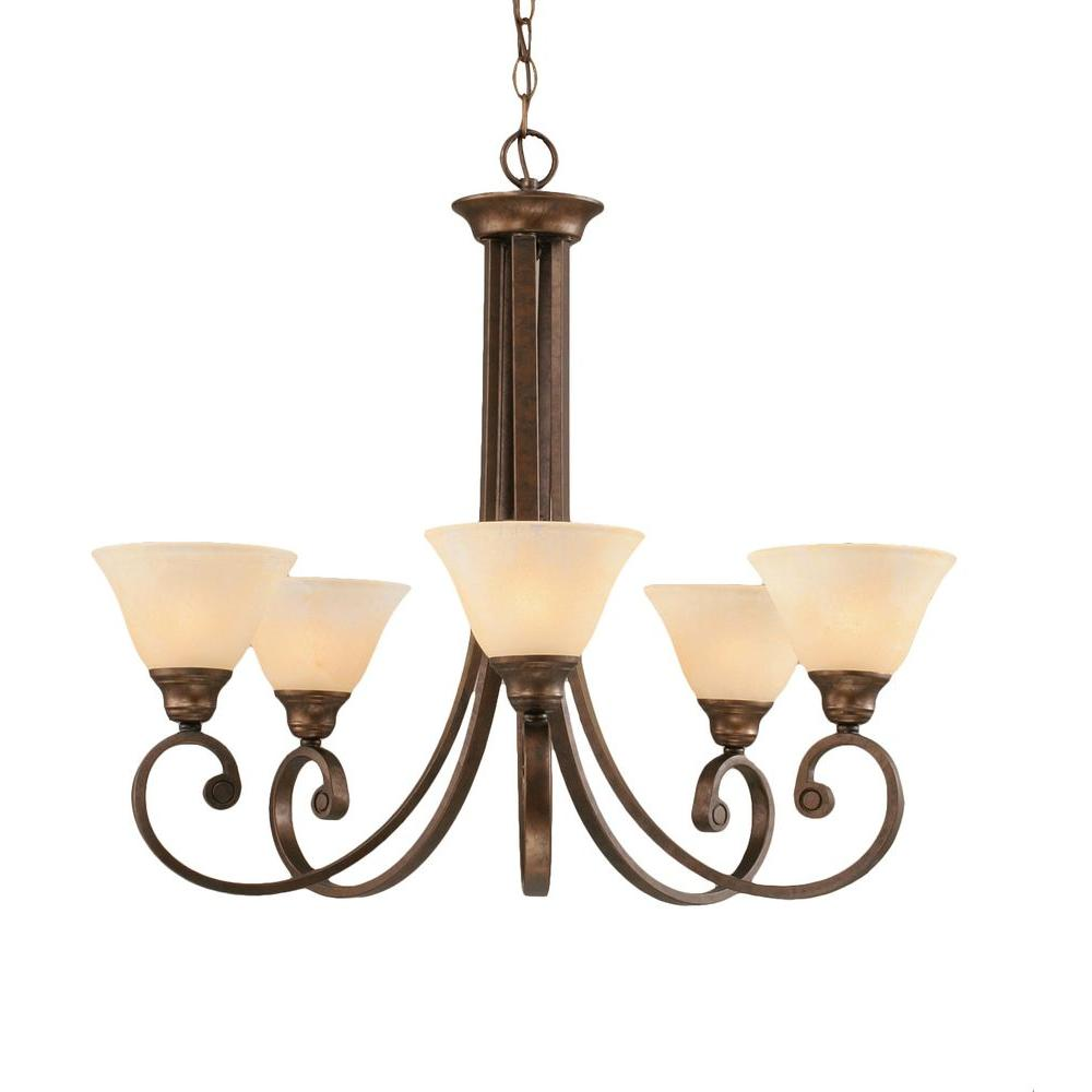 Concord Series 5-Light Bronze Chandelier with Amber Marble Glass Shade