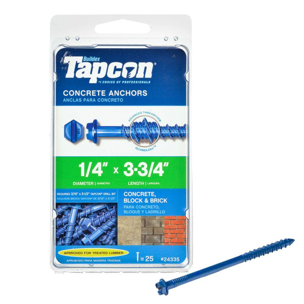 Tapcon 1/4 in. x 3-3/4 in. Hex-Washer-Head Concrete Anchors (25-Pack)