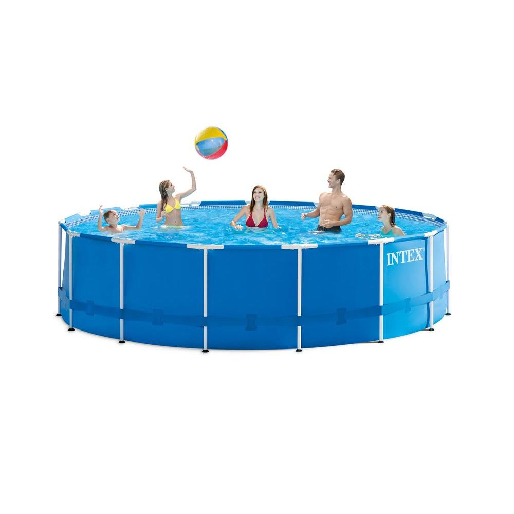 Intex 15 ft wide x 48 in deep round metal frame pool set 28235eh the home depot - Steel frame pool ...