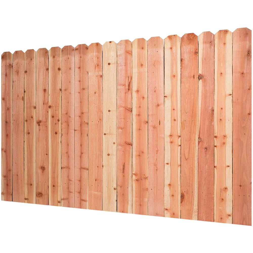 6 Ft H X 8 Ft W Construction Common Redwood Dog Ear Fence Panel 07635 The Home Depot