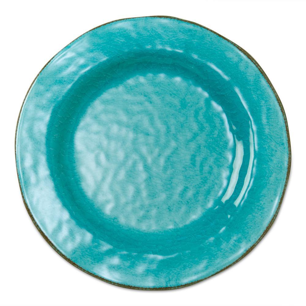 10-3/4 in. Ocean Blue Veranda Melamine Dinner Plates (Set of 4)