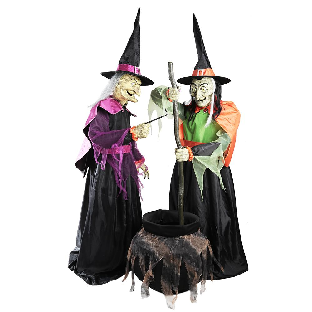 Moving Halloween Decorations: Home Accents Holiday 72 In. Wicked Cauldron Witches