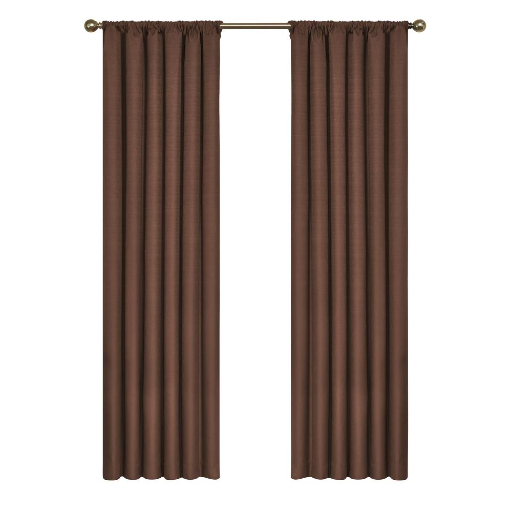 Eclipse Kendall Blackout Window Curtain Panel in Chocolate - 42 in. W x 63 in. L