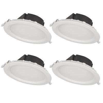 4 in. Top Box Slim Matte White Integrated LED Recessed Fixture Kit (4-Pack)