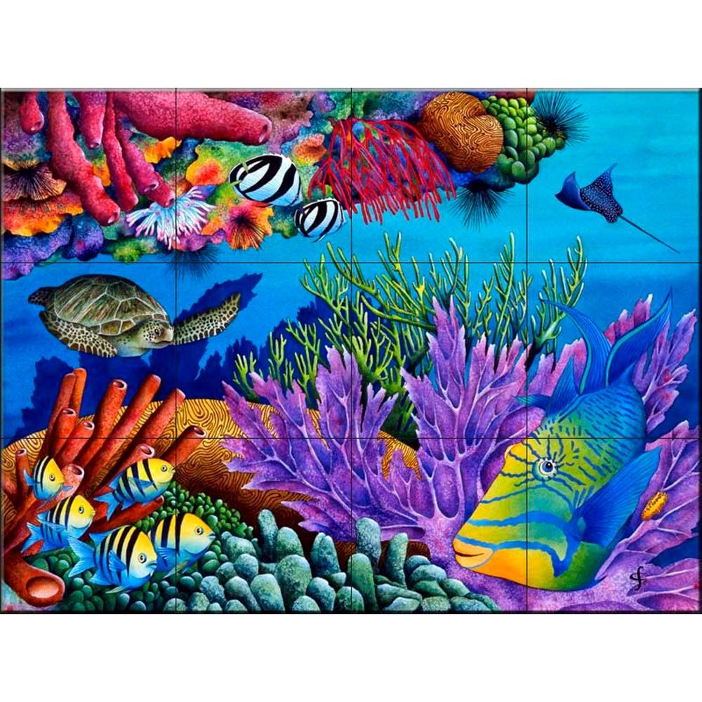 The tile mural store hide and seek 24 in x 18 in ceramic for Ceramic mural tiles