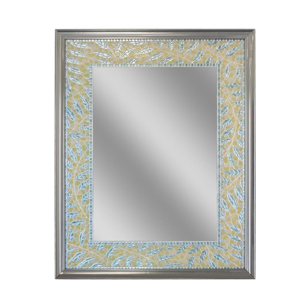 Deco Mirror 30 in. L x 24 in. W Coastal Fern Mirror in Brush Stainless Frame