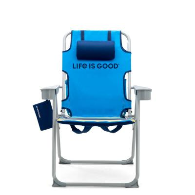 Grey and Jake Blue Aluminum Outdoor Backpack Lawn Chair