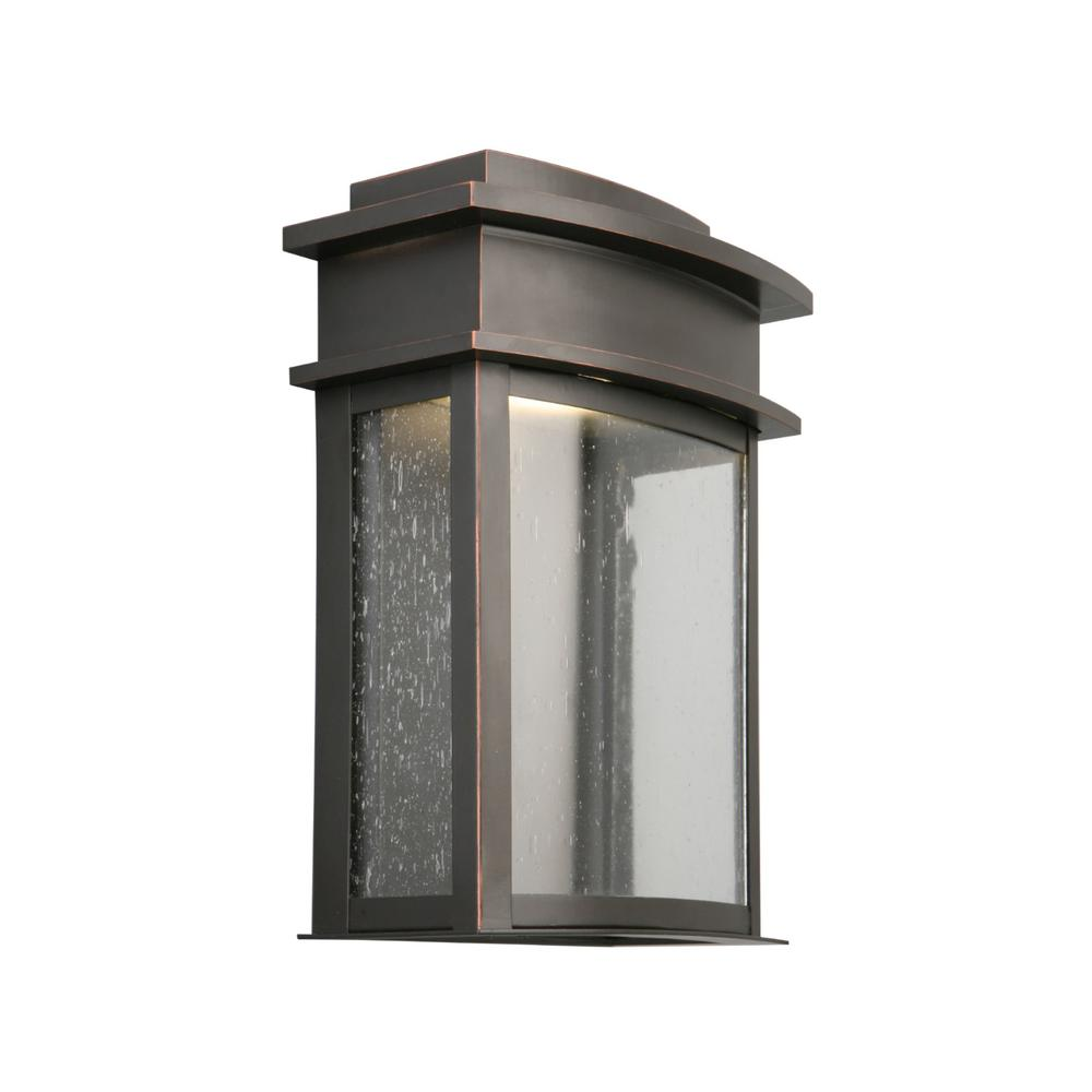 World imports 7 in burnished antique copper outdoor wall sconce fairview 8 watt oil rubbed bronze integrated led outdoor wall sconce amipublicfo Images