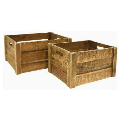 19.75 in. x 15.25 in. Storage Baskets in Brown (Set of 2)