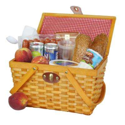 12.5 in. x 7.5 in. x 7.5 in. Picnic Basket Gingham Lined with Folding Handles