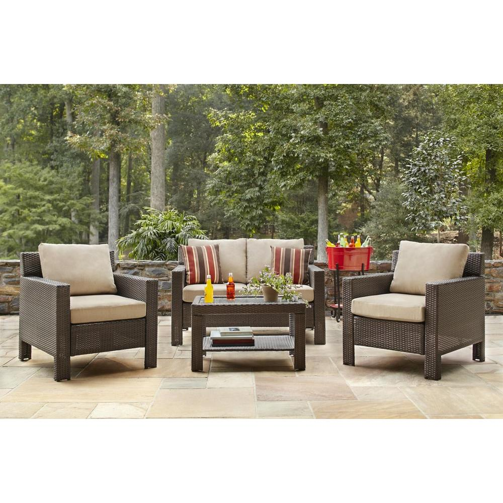 Hampton Bay Beverly 4-Piece Patio Deep Seating Set with Beverly Beige Cushions