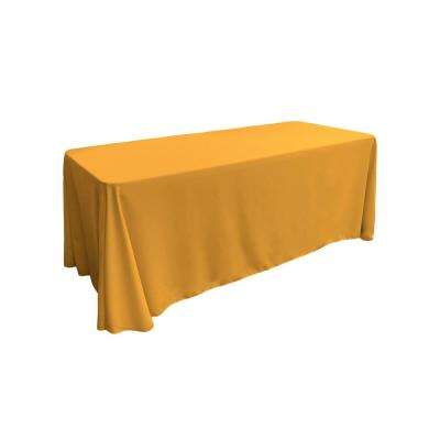 90 in. x 132 in. Gold Polyester Poplin Rectangular Tablecloth
