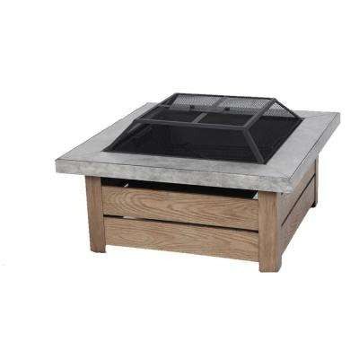 Stoneham 34 in. x 15.5 in. Square Steel Wood Fire Pit with Tile Top