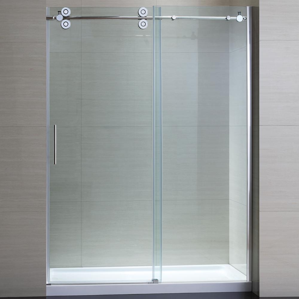 Tidal 60 in. W x 78.74 in. H Semi-Frameless Sliding Shower Door in Chrome