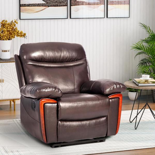 Brown Faux Leather Reclining Massage Chair with Remote Control