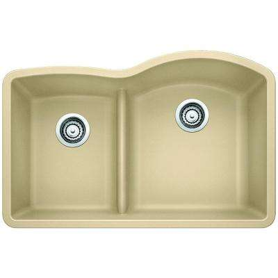 Diamond Undermount Granite Composite 32 in. 0-Hole Reverse with Low-Divide Double Bowl Kitchen Sink in Biscotti