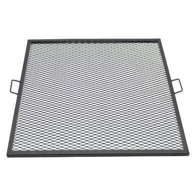 37.5 in. X-Marks Square Steel Fire Pit Cooking Grill