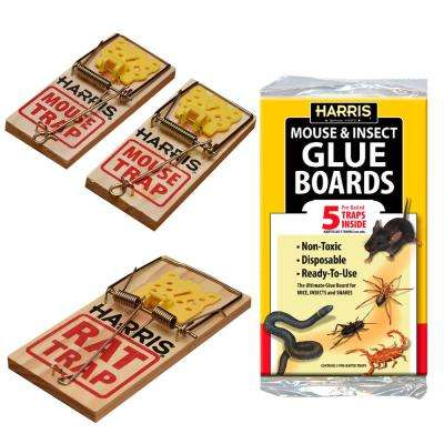 Rat and Mouse Snap Traps and Pest Glue Boards (5-Pack)